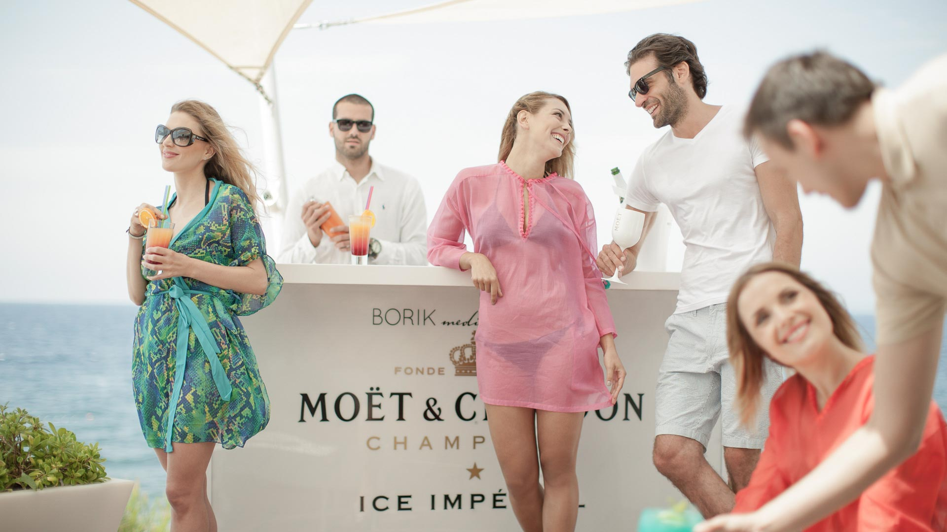 Moet, beach party, fun, sea, people, champagne